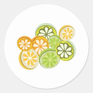 Fruta cítrica mezclada pegatina redonda