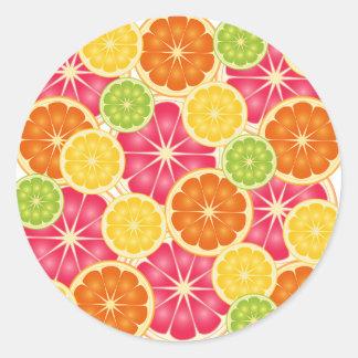 Fruta cítrica pegatina redonda