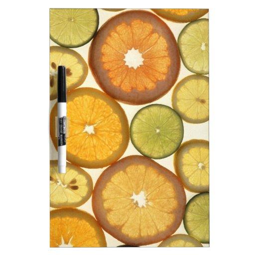 fruta cítrica pizarras blancas de calidad