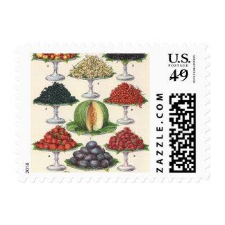 Fruta clasificada comidas del vintage en las sellos