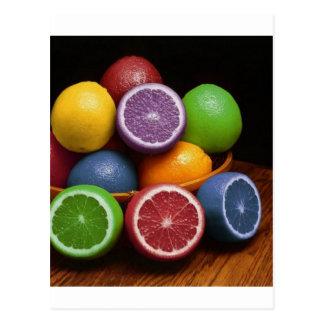 Fruta colorida tarjetas postales