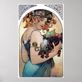 Fruta de Alfons Mucha 1897 Póster