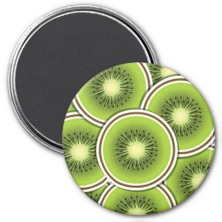 Fruta de kiwi enrrollada imán redondo 7 cm