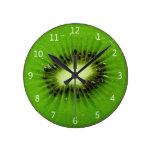 Fruta de kiwi - reloj de pared redondo