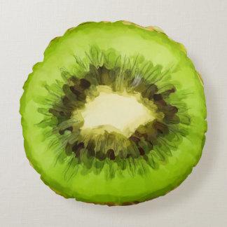 Fruta de kiwi verde cojín redondo