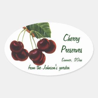 Fruta de la comida del vintage, cerezas en una pegatina ovalada