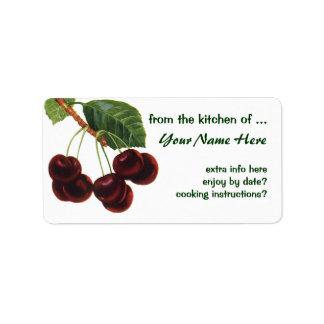 Fruta de la comida del vintage, cerezas en una ram etiquetas de dirección