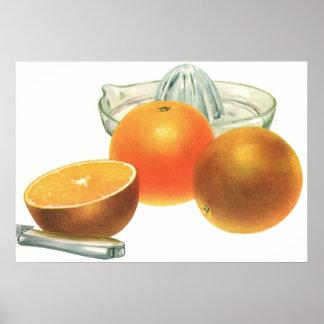 Fruta de la comida del vintage, desayuno maduro póster