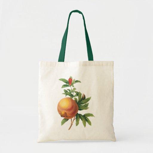 Fruta de la comida del vintage, granada por bolsa tela barata