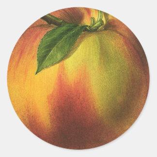 Fruta de la comida del vintage, melocotón maduro etiqueta redonda