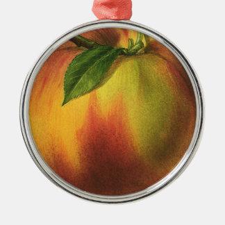 Fruta de la comida del vintage, melocotón orgánico adorno navideño redondo de metal