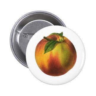 Fruta de la comida del vintage, melocotón orgánico pin redondo de 2 pulgadas