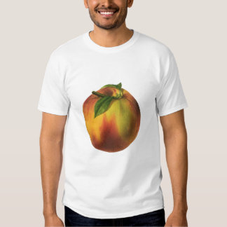Fruta de la comida del vintage, melocotón orgánico playera