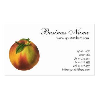 Fruta de la comida del vintage, melocotón orgánico tarjetas de visita