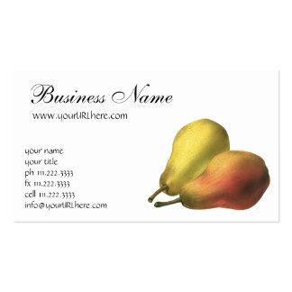 Fruta de la comida del vintage, peras maduras tarjeta personal