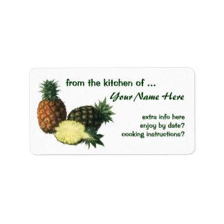 Fruta de la comida del vintage, piñas hawaianas etiqueta de dirección