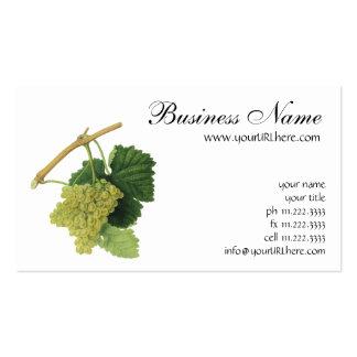 Fruta de la comida del vintage, uvas del vino blan tarjetas de visita