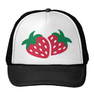 Fruta de la fresa gorros bordados