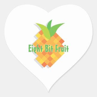 Fruta de ocho bites pegatina en forma de corazón