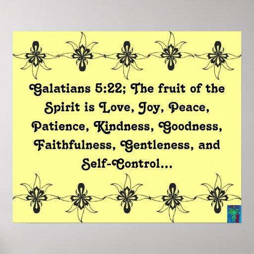 Fruta del 5:22 de Galatians del poster del alcohol Póster