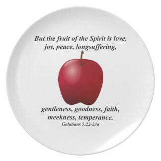 Fruta del alcohol Apple con verso de la biblia Platos Para Fiestas