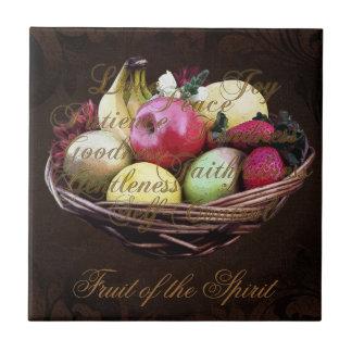 Fruta del alcohol, cesta pintada de Brown Azulejo Cuadrado Pequeño