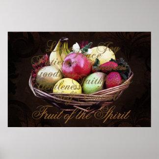 Fruta del alcohol, cesta pintada de Brown Póster