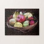 Fruta del alcohol, cesta pintada de Brown Rompecabeza Con Fotos