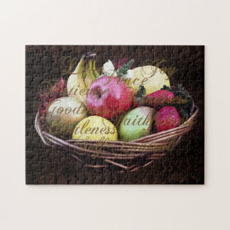 Fruta del alcohol, cesta pintada de Brown Rompecabezas Con Fotos