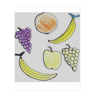fruta del dibujo animado postal