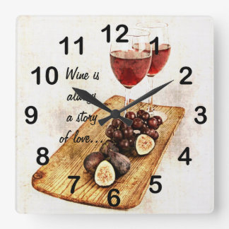 fruta del glassesand de dos vinos reloj cuadrado