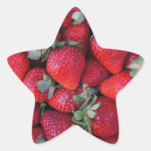 Fruta del inconformista de la fresa totalmente pegatina en forma de estrella