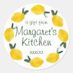 fruta del limón que cocina a los pegatinas de la pegatina redonda