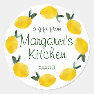 fruta del limón que cocina a los pegatinas de la etiquetas redondas