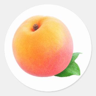 Fruta del melocotón pegatina redonda