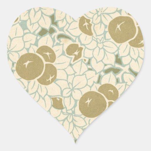 fruta del nouveau del arte y modelo de flores pegatina en forma de corazón