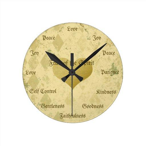 Fruta del oro cristiano del vintage de las virtude relojes de pared