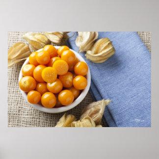 Fruta del Physalis en la impresión del cuenco Impresiones