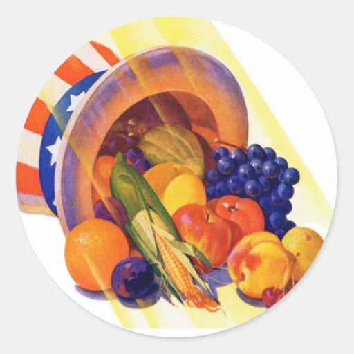 Fruta del tío Sam del kitsch del vintage del arte Etiquetas Redondas