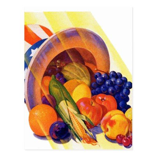 Fruta del tío Sam del kitsch del vintage del arte  Tarjetas Postales