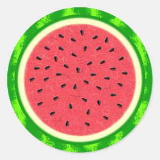 Fruta del verano de la rebanada de la sandía con pegatina redonda