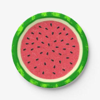 Fruta del verano de la rebanada de la sandía con platos de papel