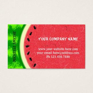 Fruta del verano de la rebanada de la sandía con tarjeta de negocios