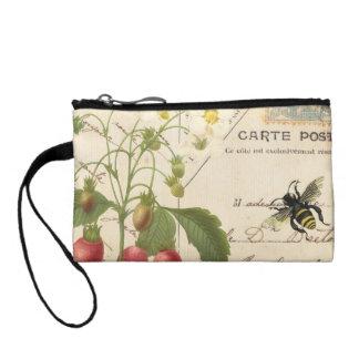 Fruta del vintage y monedero floral de la postal…
