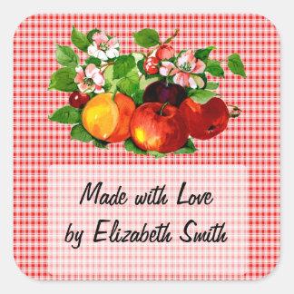 Fruta en la tela escocesa roja calcomania cuadradas personalizadas