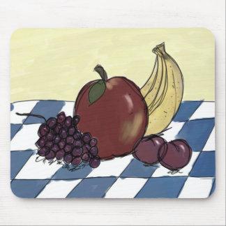 Fruta en un mantel azul y blanco Mousepad Alfombrilla De Ratón