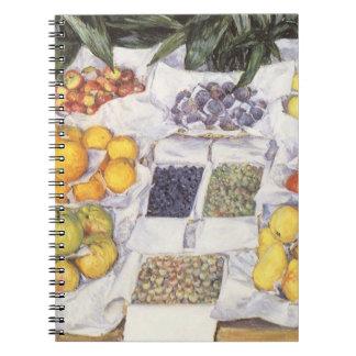 Fruta exhibida en un hacer una pausa Gustave Libretas