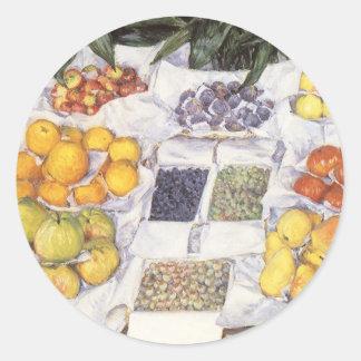 Fruta exhibida en un hacer una pausa Gustave Pegatinas Redondas