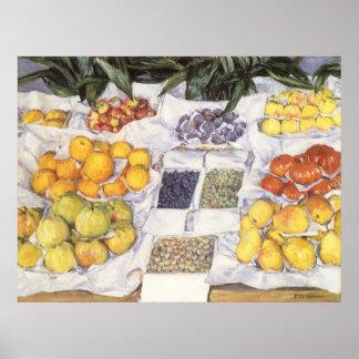 Fruta exhibida en un hacer una pausa Gustave Póster
