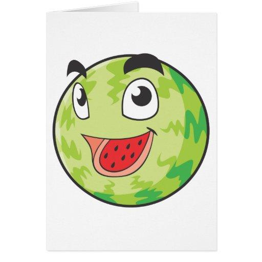 Fruta feliz de la sandía tarjeta